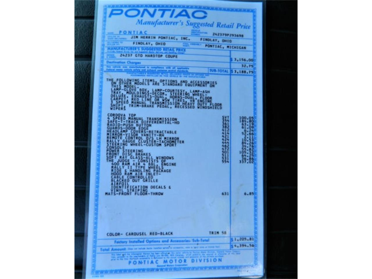 1969 Pontiac Gto For Sale Cc 1017173 1960s Dash Large Picture Of 69 Lsut
