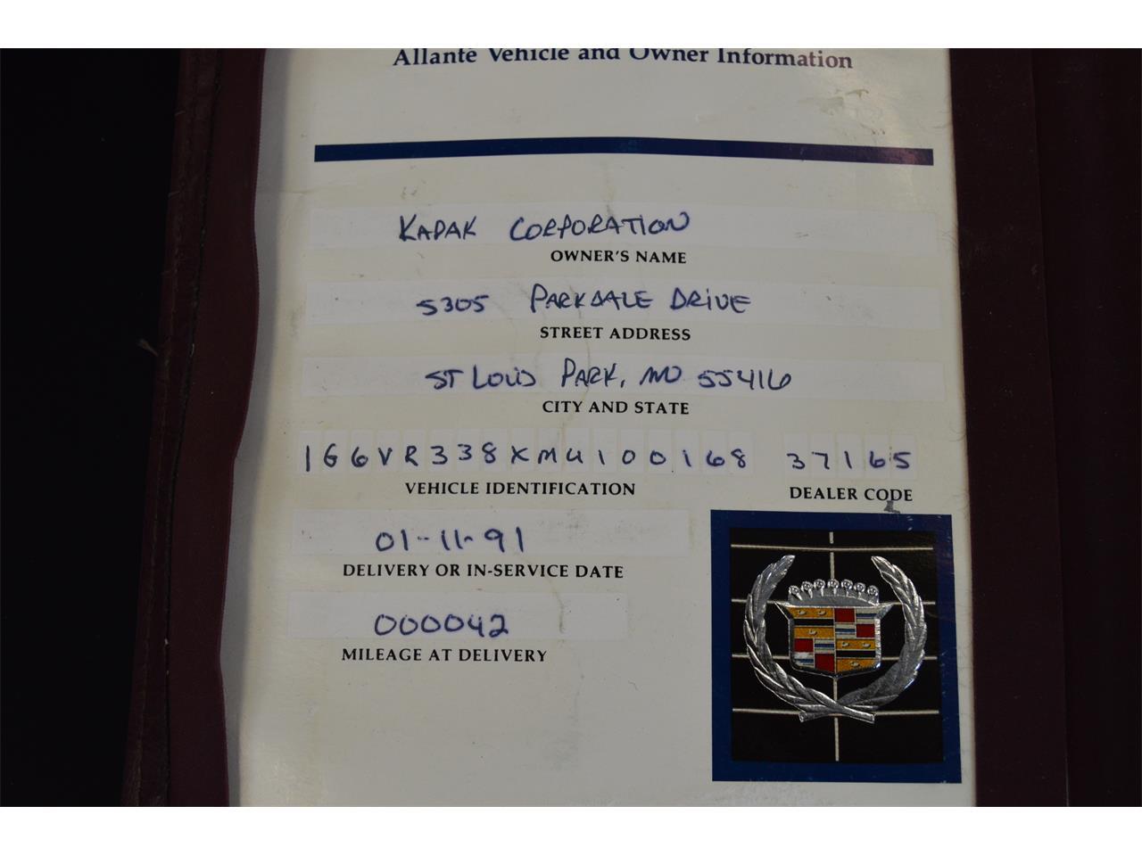 Large Picture of '91 Allante - M1B8