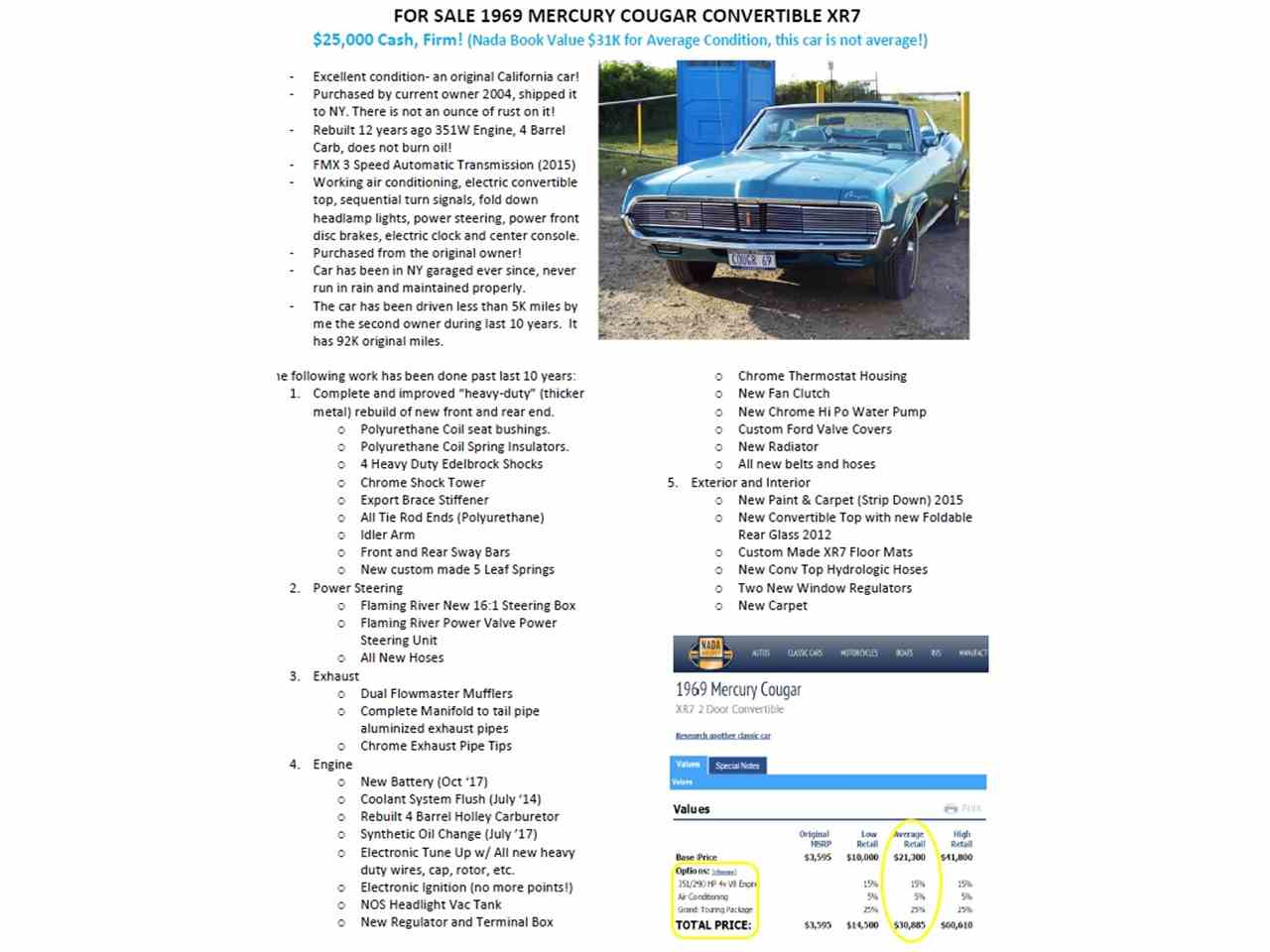 1969 Mercury Cougar XR7 for Sale | ClassicCars.com | CC-1031105