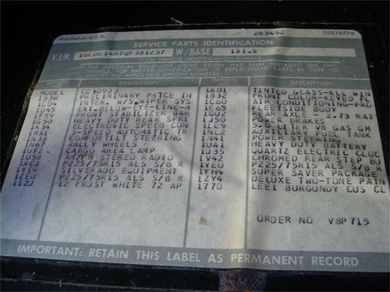 Large Picture of '86 Silverado - M60C