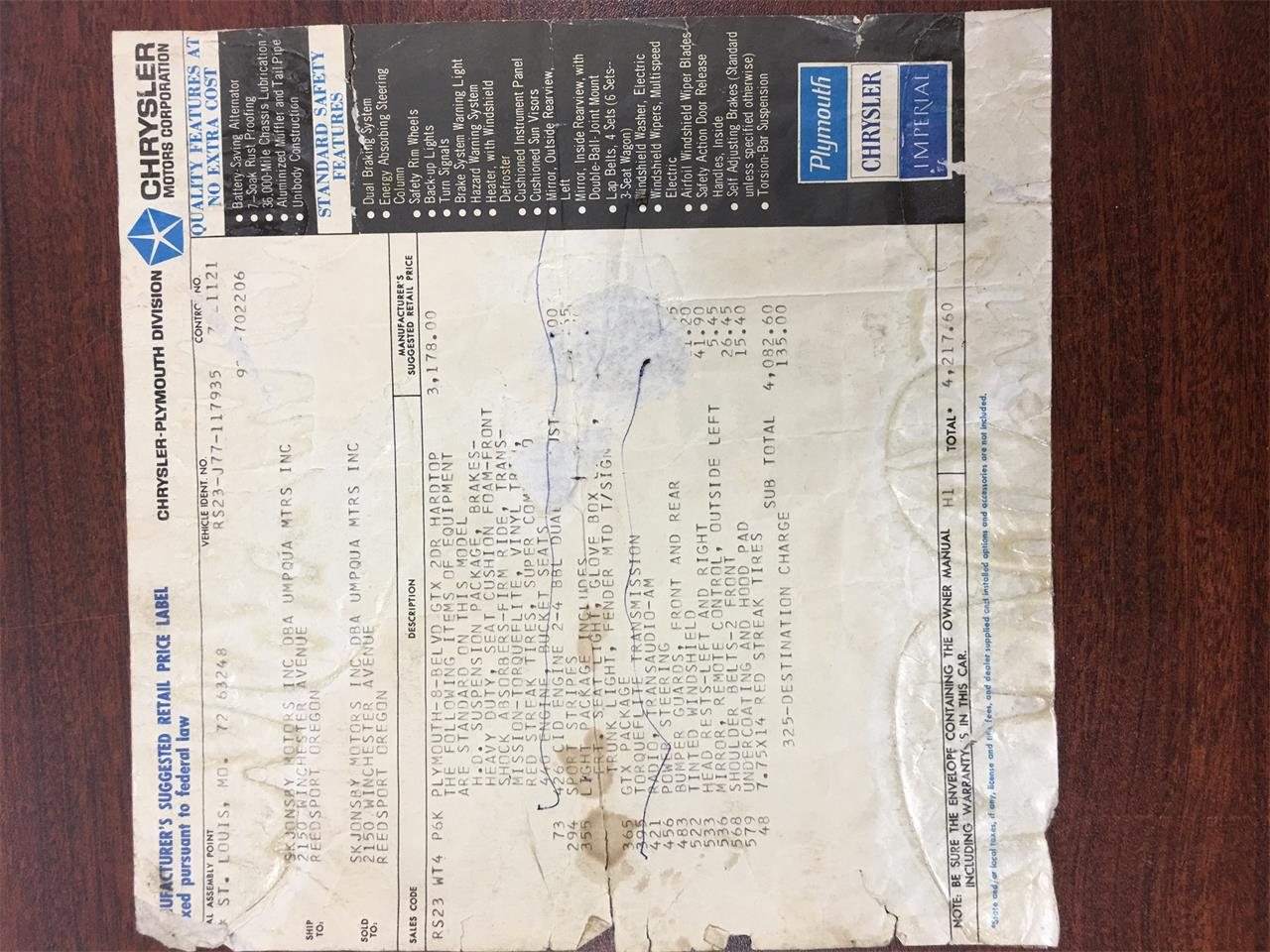1967 Plymouth Gtx For Sale Cc 1030825 Wiring Diagram Large Picture Of 67 M3e1