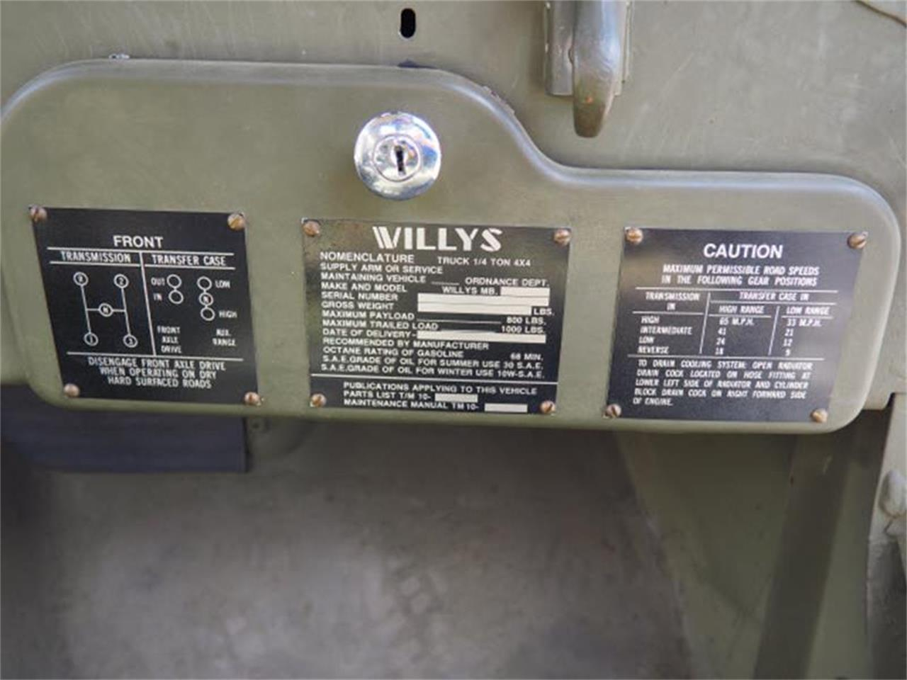 1943 Willys Jeep For Sale Cc 1041493 Serial Number Location Large Picture Of 43 Mbmd