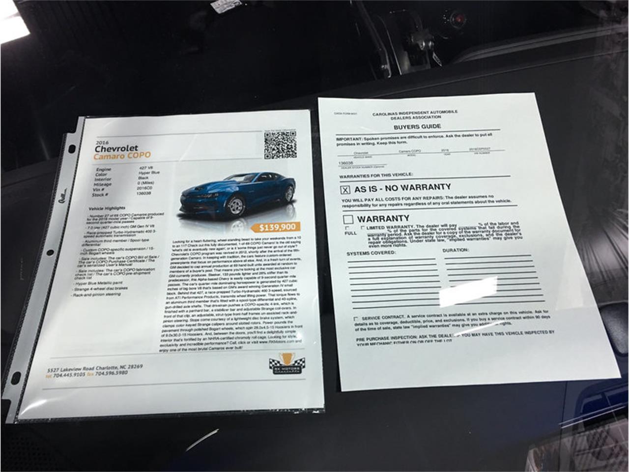 Large Picture of 2016 Chevrolet Camaro COPO - $139,900.00 - MFAR
