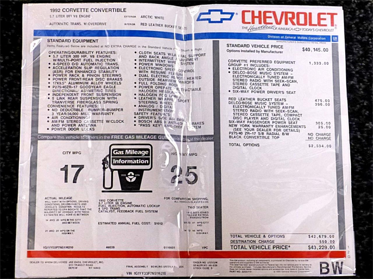 Large Picture of 1992 Chevrolet Corvette located in Pennsylvania - $19,900.00 - MSGH