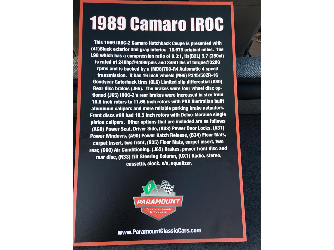 Large Picture of '89 Chevrolet Camaro IROC Z28 located in Bedford Texas - MZ5V