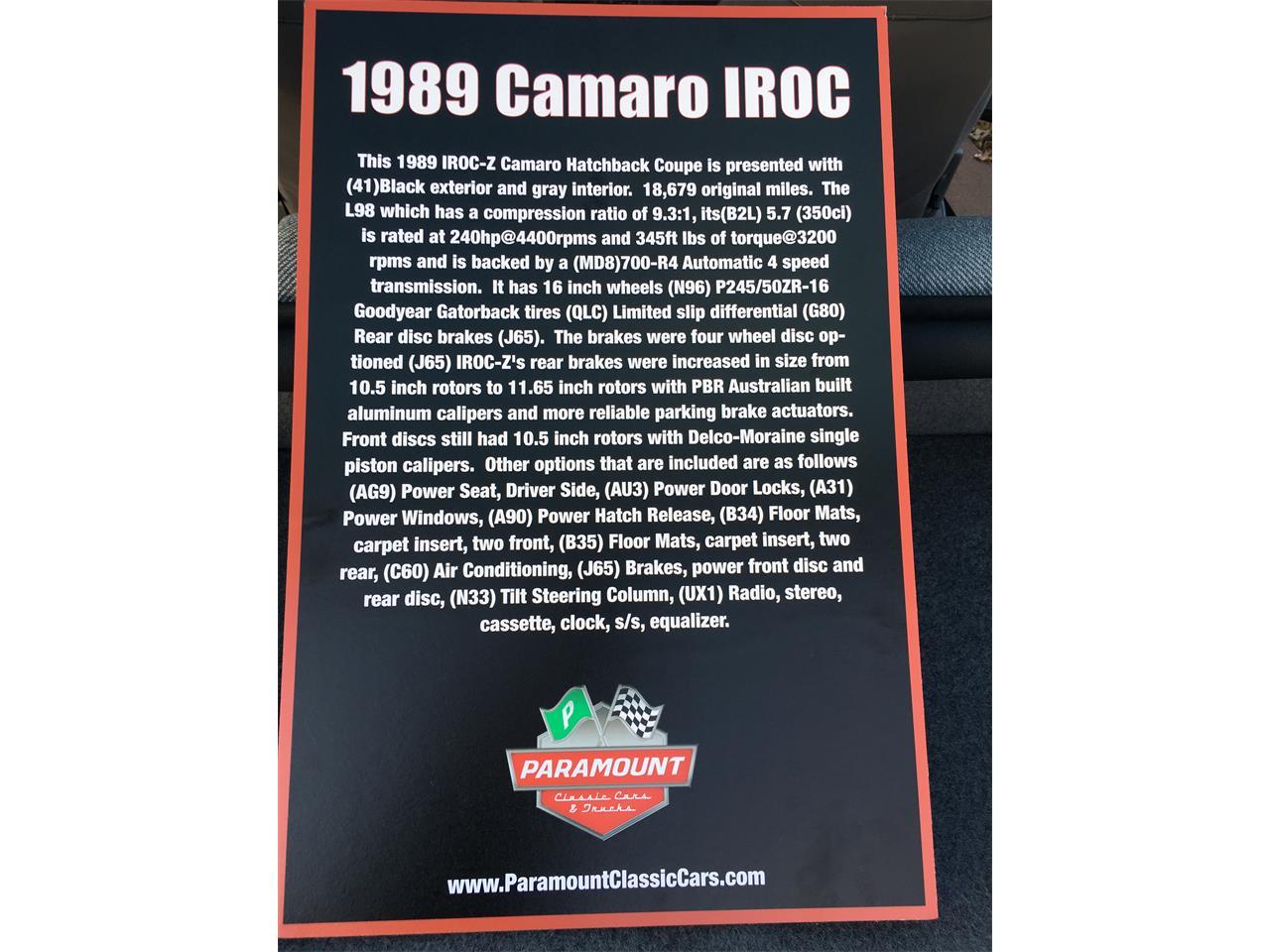 Large Picture of '89 Camaro IROC Z28 - MZ5V