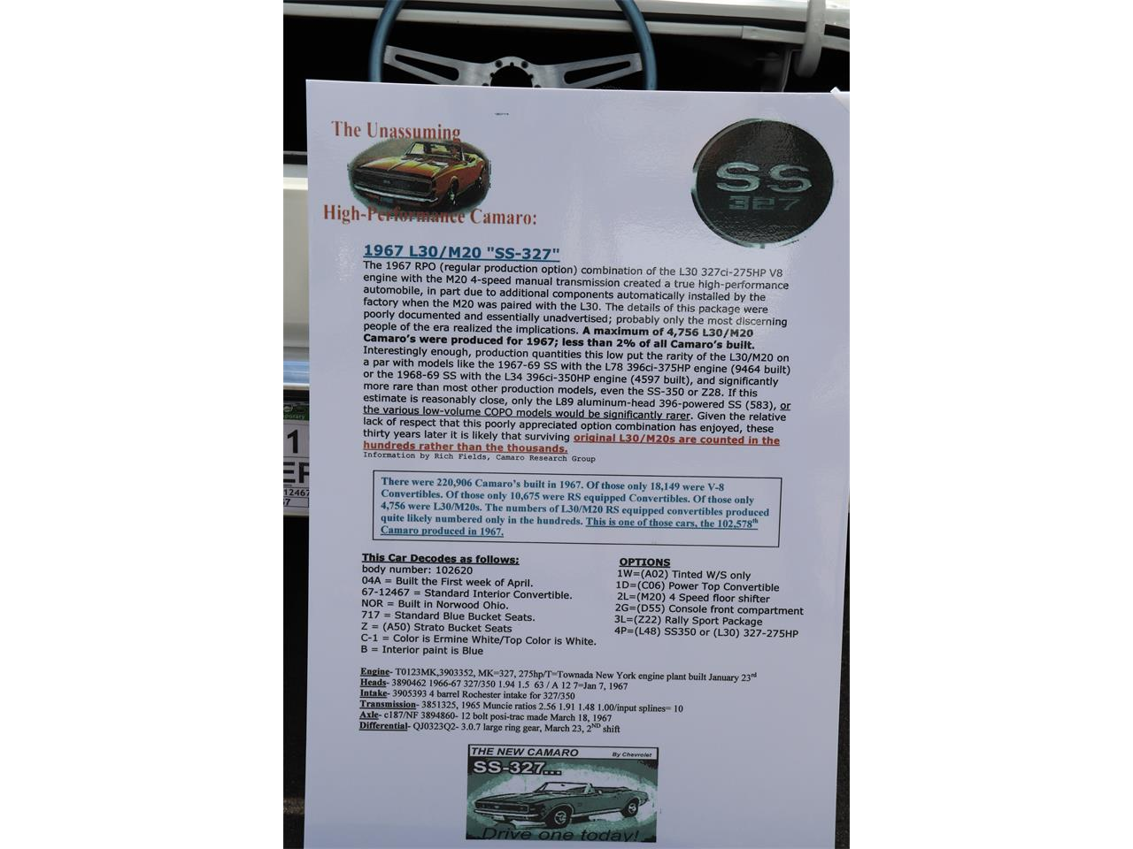 Large Picture of Classic 1967 Chevrolet Camaro SS - QPKA