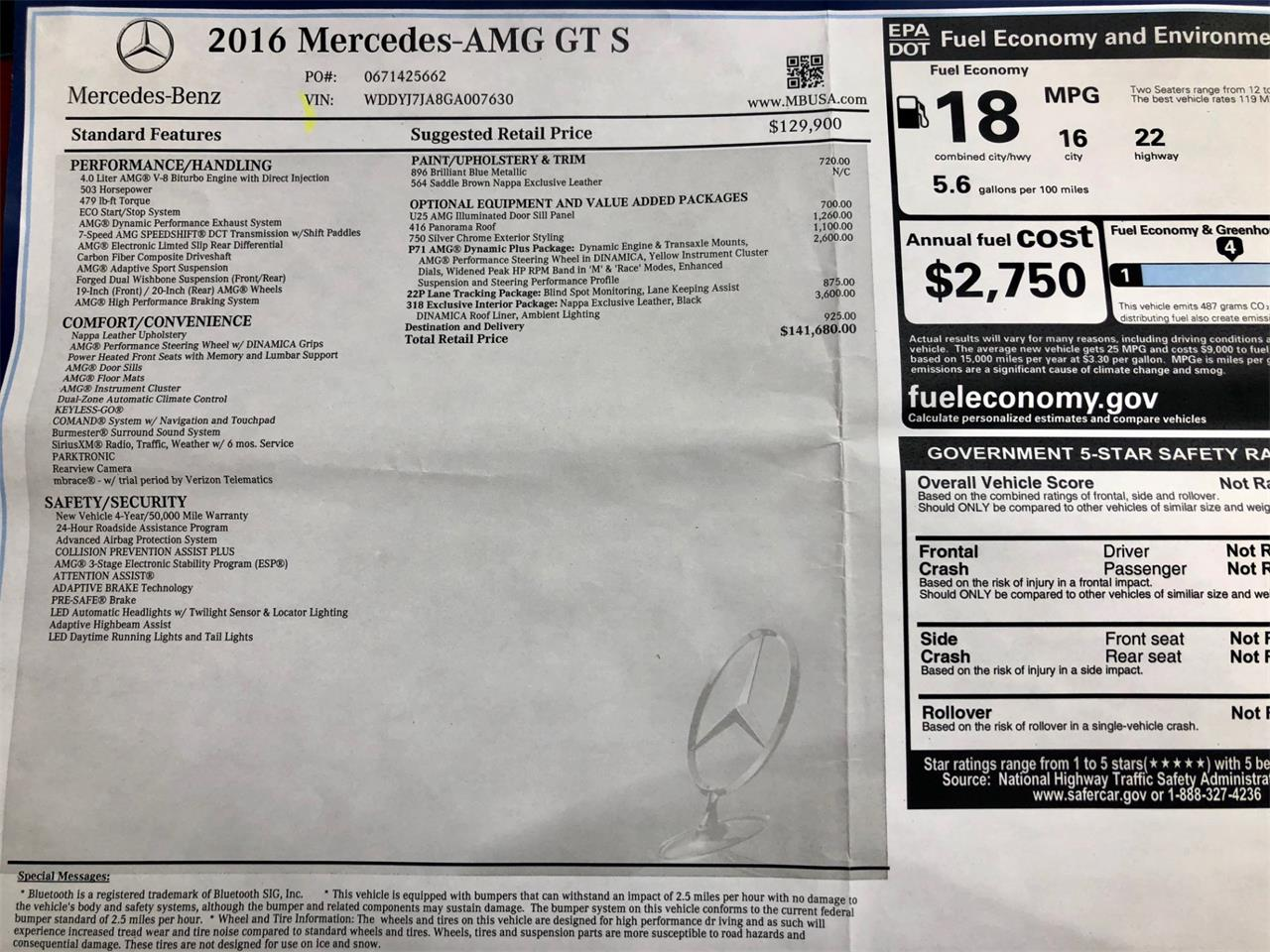 Large Picture of 2016 Mercedes-Benz AMG located in Farmingdale New York Offered by Motorcar Classics - R1ZW