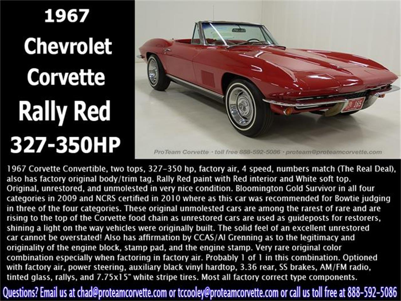 Large Picture of Classic 1967 Corvette located in Napoleon Ohio - $110,000.00 Offered by Proteam Corvette Sales - HS2O