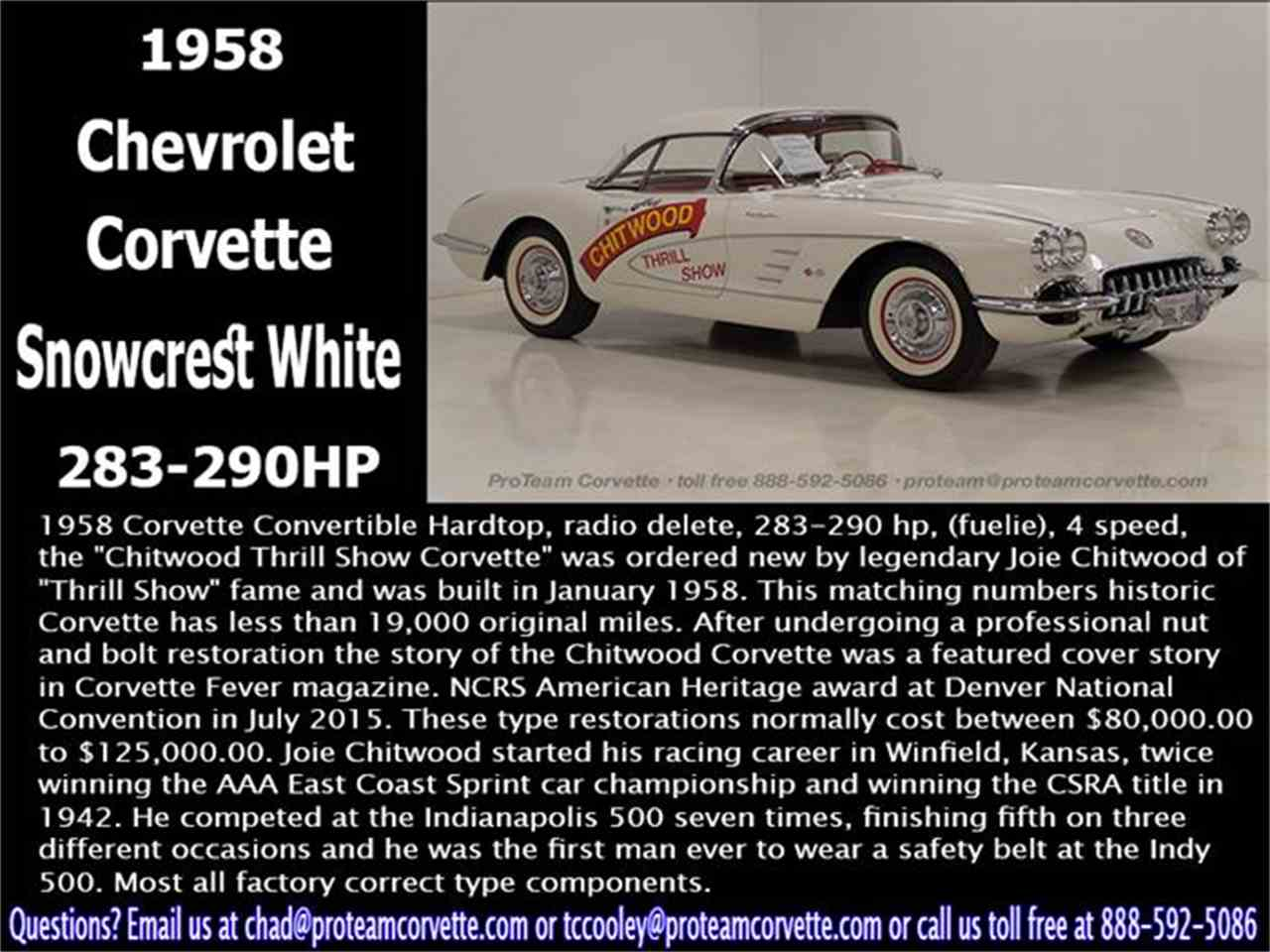 Large Picture of 1958 Corvette - $300,000.00 Offered by Proteam Corvette Sales - HSLN