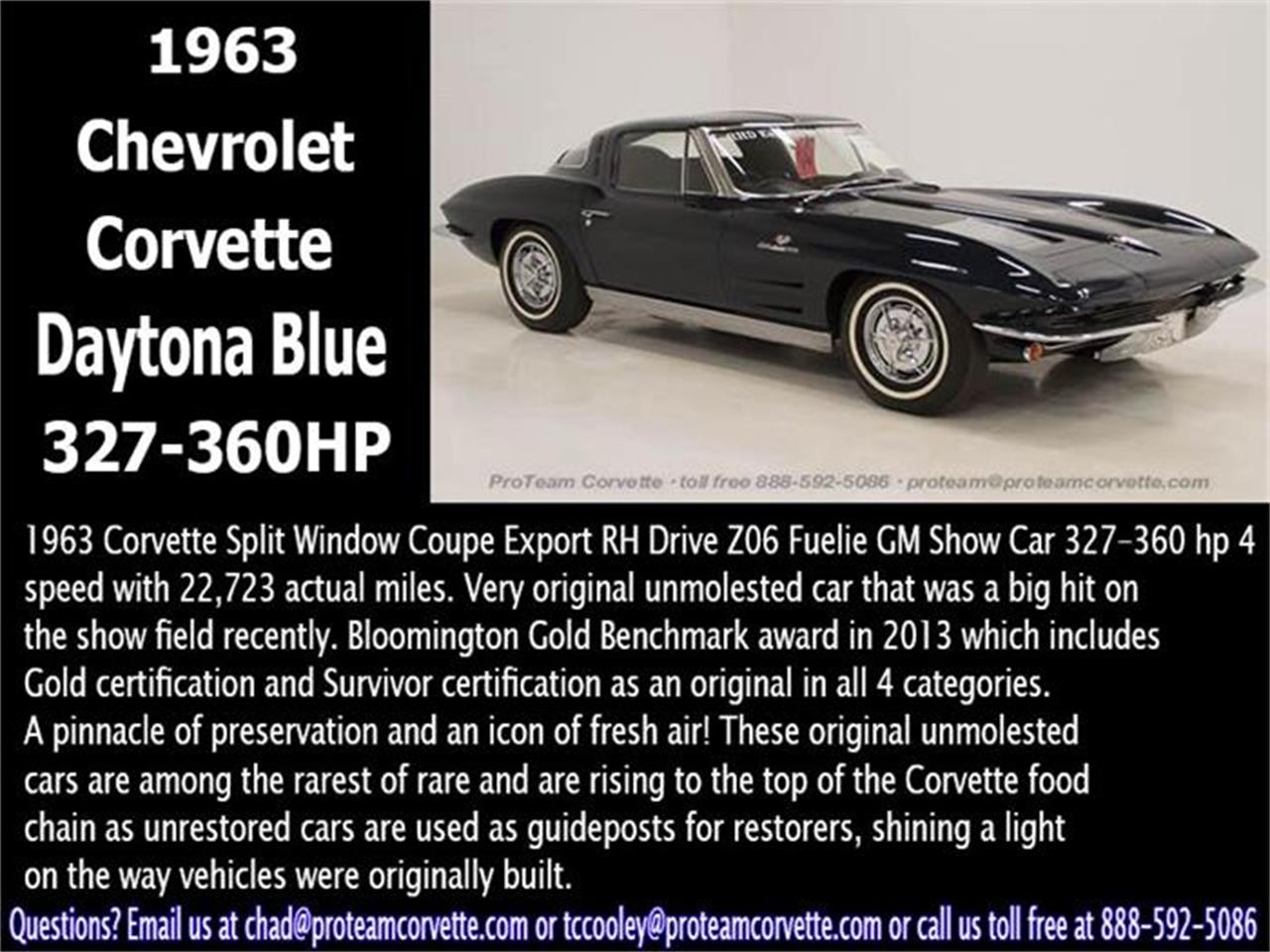 Large Picture of 1963 Chevrolet Corvette located in Napoleon Ohio Offered by Proteam Corvette Sales - HZAC