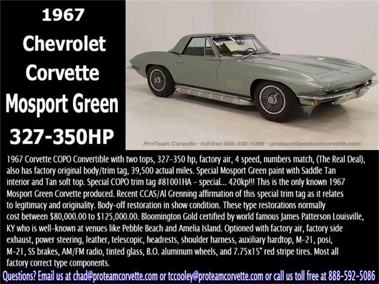 Large Picture of Classic 1967 Corvette Offered by Proteam Corvette Sales - I357
