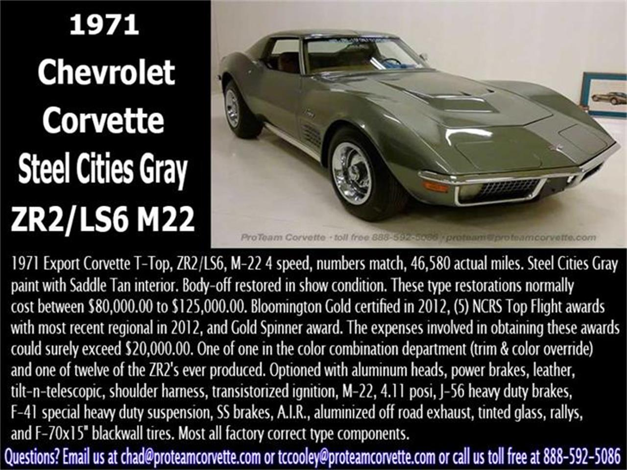 Large Picture of Classic '71 Corvette Offered by Proteam Corvette Sales - I60K