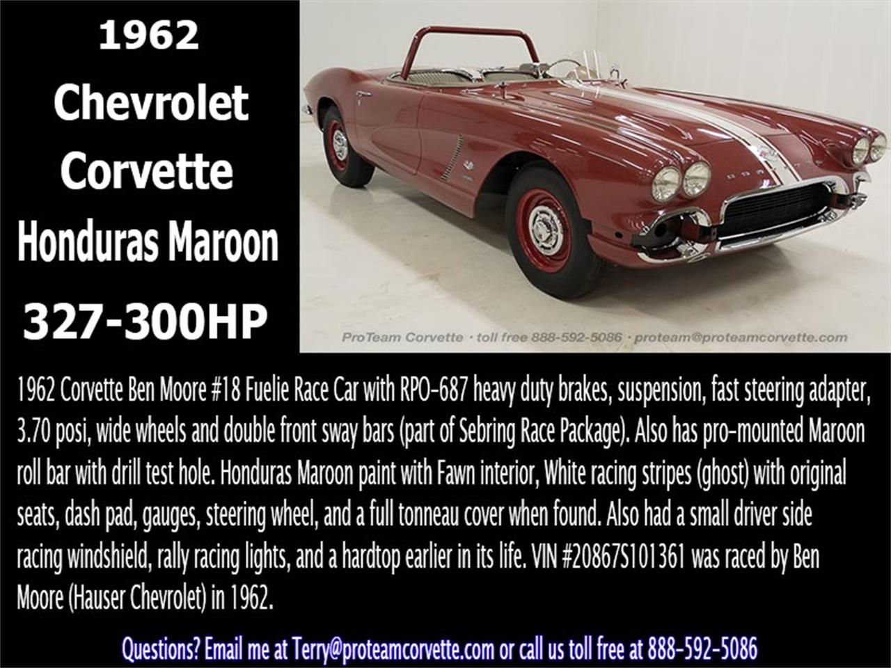 Large Picture of Classic '62 Chevrolet Corvette located in Napoleon Ohio - $300,000.00 Offered by Proteam Corvette Sales - JBG4