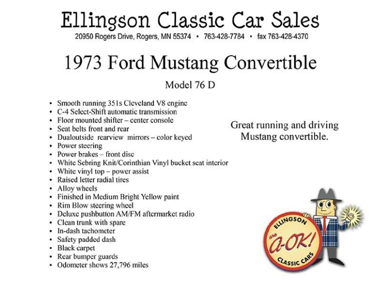 Large Picture of Classic '73 Ford Mustang located in Minnesota Offered by Ellingson Motorcars - K5R9