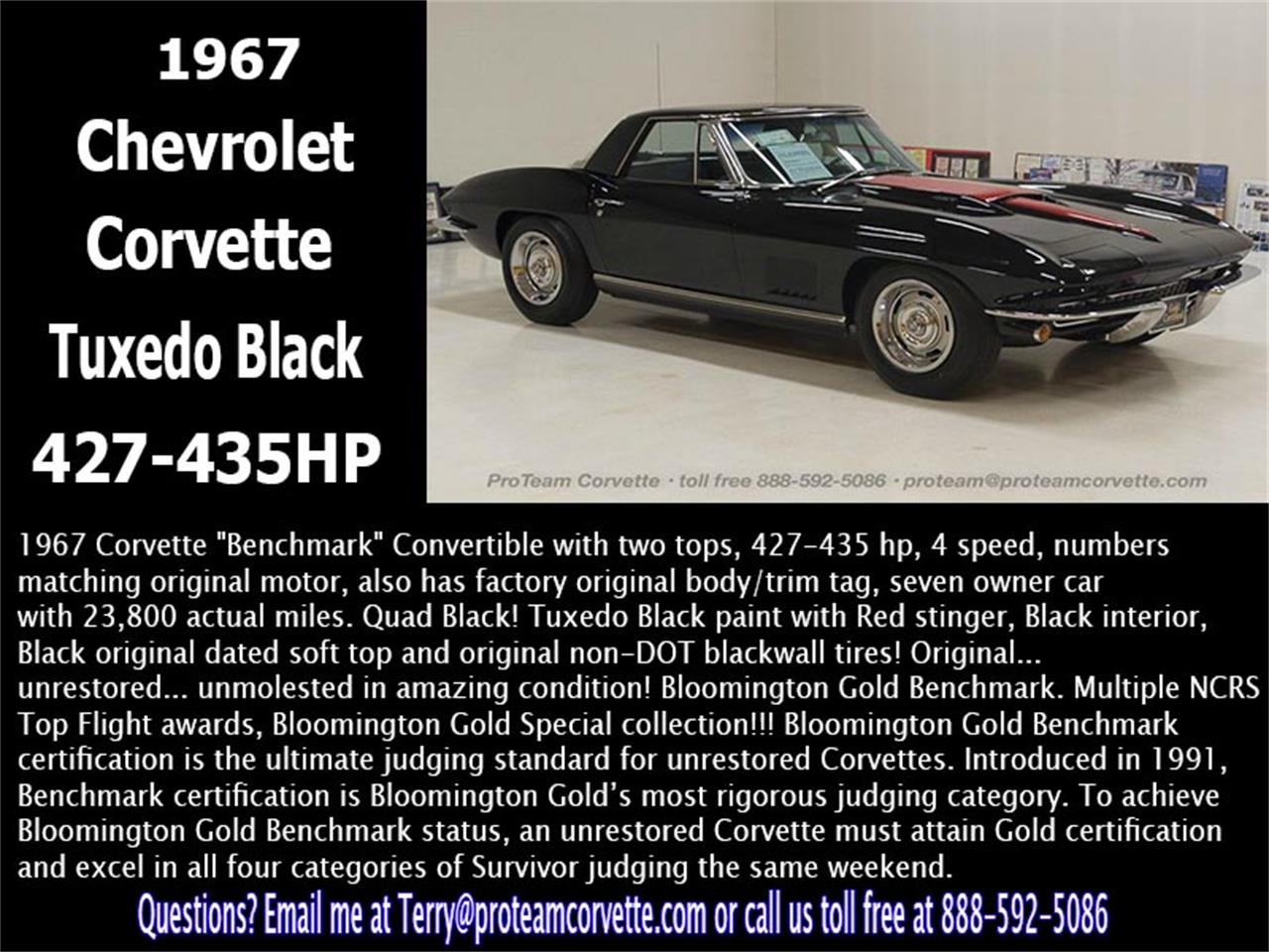 Large Picture of '67 Chevrolet Corvette located in Ohio Offered by Proteam Corvette Sales - LALX