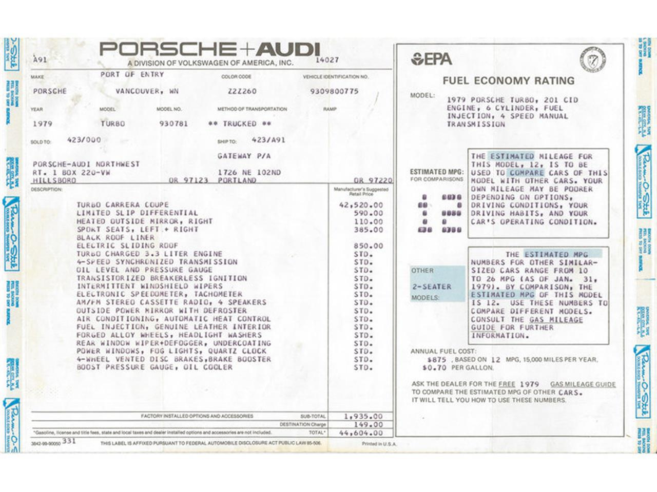 Large Picture of '79 930 Turbo located in California Auction Vehicle Offered by Canepa - LAM3