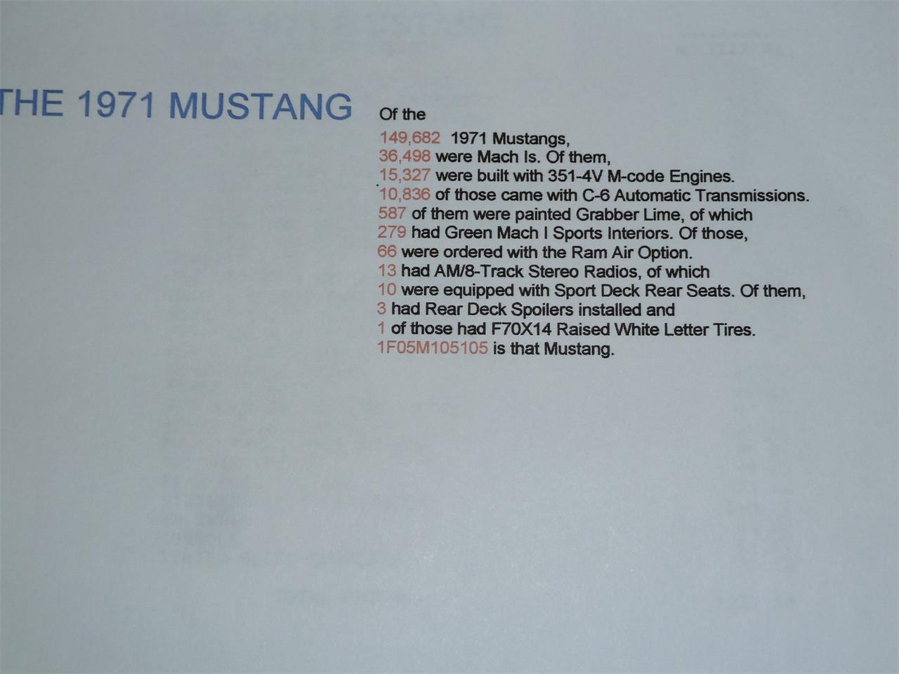 Large Picture of Classic '71 Ford Mustang Mach 1 located in California - LEX9